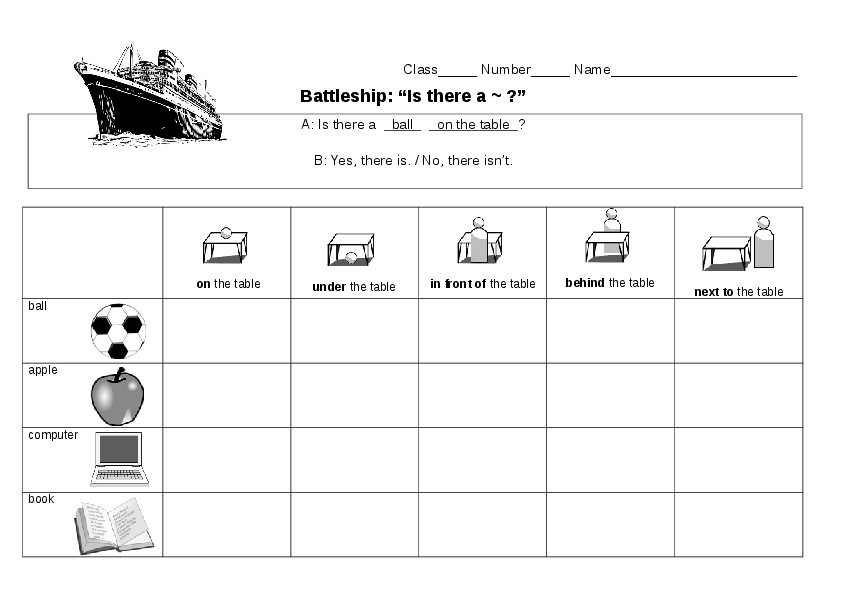 """Let's Teach English: """"There is a ~"""" & Prepositions: Battleship ..."""